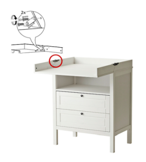 IKEA - SUNDVIK changing table/chest of drawers