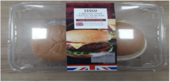 Tesco 2 British Cheese Burgers with Buns